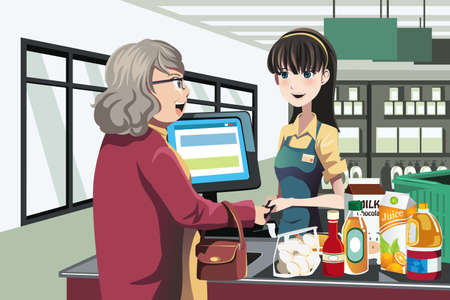 supermarket cash: A illustration of a lady shopping at a grocery store