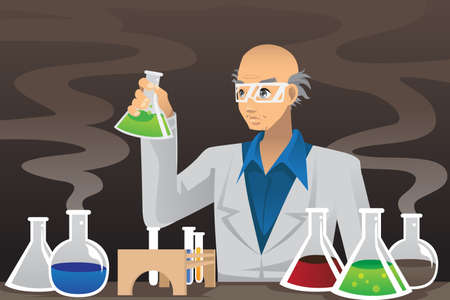 test glass: A illustration of a scientist working in a lab Illustration