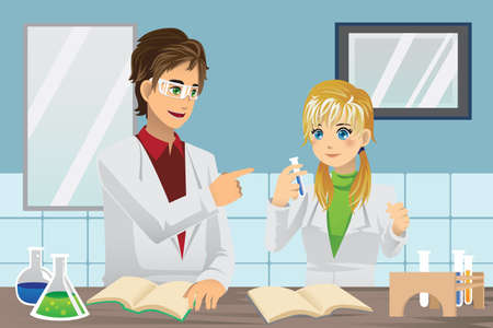 A illustration of students experimenting in chemistry lab Vettoriali