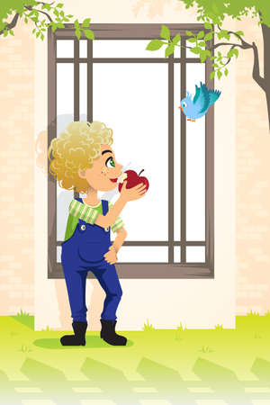 A illustration of a boy eating an apple Vector