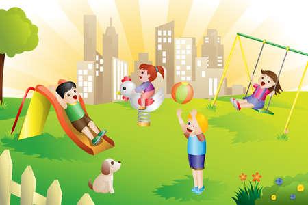 Una ilustraci�n de los ni�os jugando en el patio de recreo