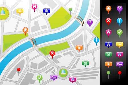 drawing pins: A illustration of a GPS street map with usable icons