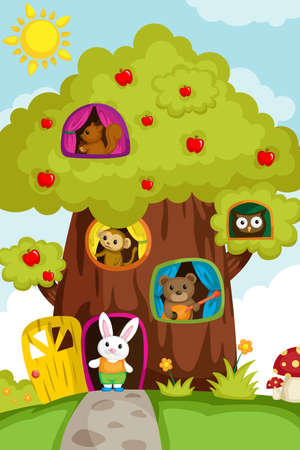 A illustration of a different animals living in a treehouse Vector