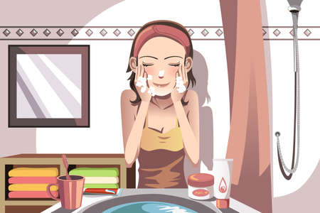 A illustration of a woman washing her face in the bathroom