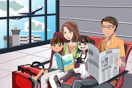 family vacations: A illustration of a family going on a vacation waiting in the airport