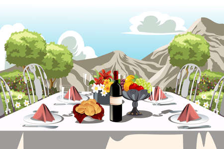 dining table and chairs: A illustration of a garden party table arrangement