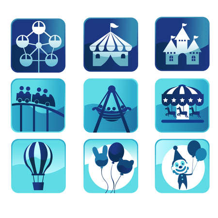 A illustration of theme park icons