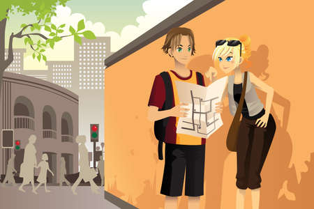 A illustration of a couple young tourists reading a map in an urban village Ilustração