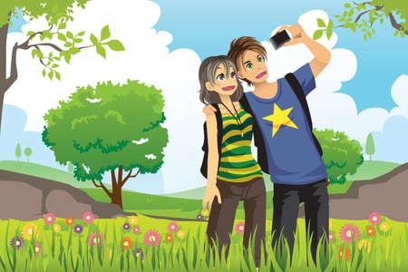 自分の写真を撮る若い観光客のカップルのイラスト  イラスト・ベクター素材