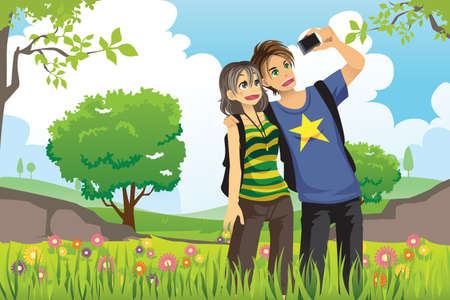 romantic getaway: A illustration of a young tourist couple taking a picture of themselves