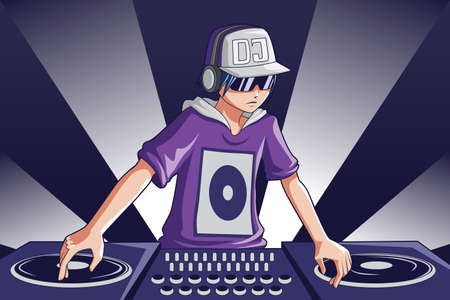 A illustration of a music DJ at work Vector