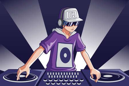 giradisco: A illustrazione di un DJ di musica al lavoro