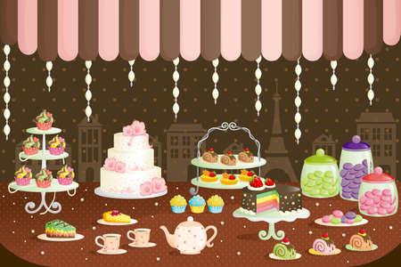 케이크 매장 디스플레이의 그림 일러스트