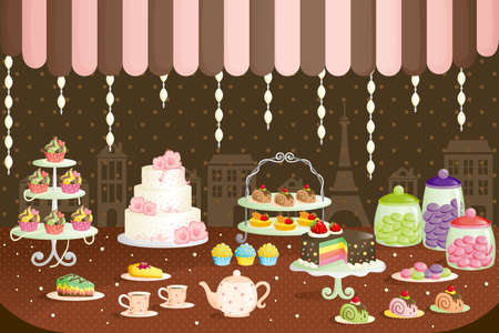 pastries: A illustration of cakes store display Illustration