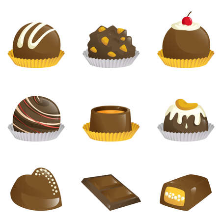A illustration of different kinds of chocolates icons Ilustração