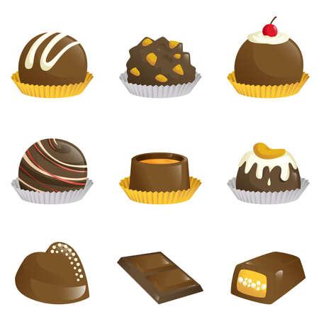 Een illustratie van de verschillende soorten chocolade iconen