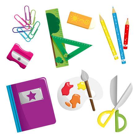 fournitures scolaires: Une illustration de l'�cole fournit des ic�nes