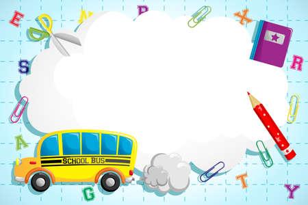 autobus escolar: Una ilustraci�n de la espalda a los antecedentes de la escuela