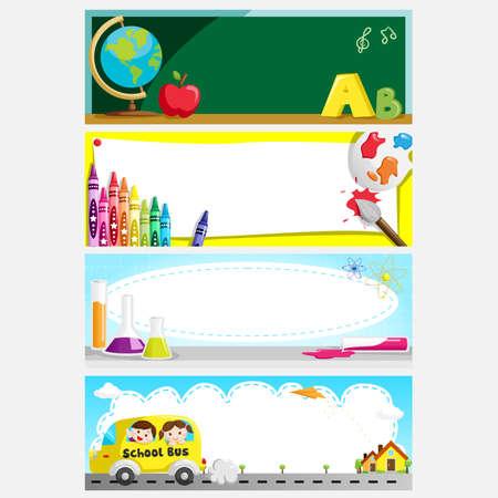 przybory szkolne: Ilustracja z zestawu edukacji lub z powrotem do szkoły banery