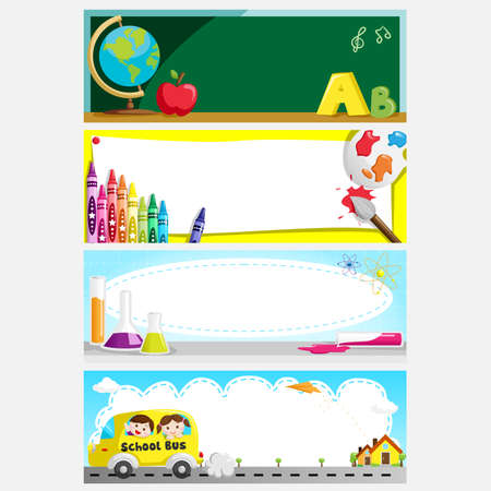 utiles escolares: Una ilustraci�n de un conjunto de la educaci�n o en la espalda a las banderas de la escuela