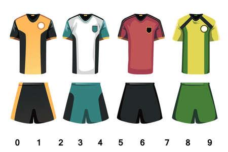 futbol soccer dibujos: Una ilustraci�n vectorial de dise�o del jersey de f�tbol