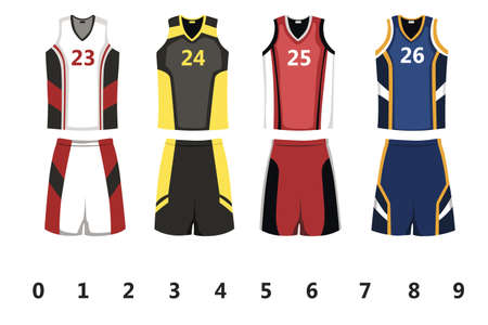 농구 유니폼 디자인의 벡터 일러스트 일러스트