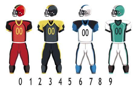 uniforme de futbol: Una ilustraci�n vectorial de Am�rica de f�tbol de visitante