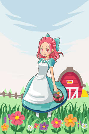 A vector illustration of a country farm girl carrying a basket of flowers Çizim