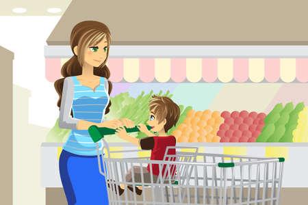 mujer en el supermercado: Una ilustración vectorial de una madre y su hijo se va de compras