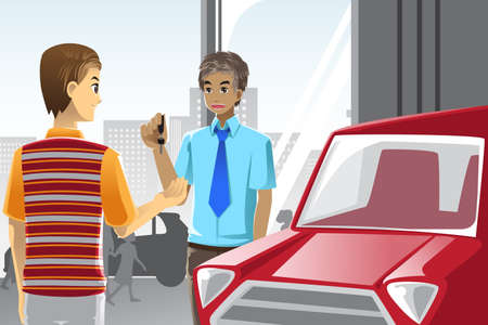 A vector illustration of a man buying a car from a car salesman in a car dealership