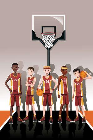 Illustratie van een team van basketballers Stock Illustratie