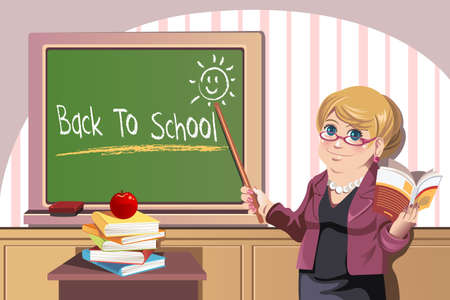Illustration of a teacher in front of the class pointing to blackboard showing back to school Vector