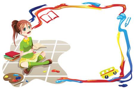 escuela primaria: Ilustraci�n de una ni�a de la escuela con la espalda a los antecedentes de la escuela