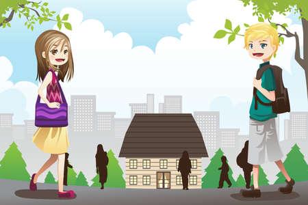 Illustration of kids going to school