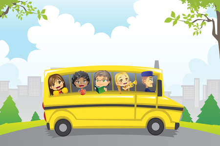 back to school: Illustration of kids riding in a school bus