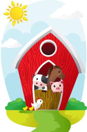 Illustratie van landbouwhuisdieren in een schuur