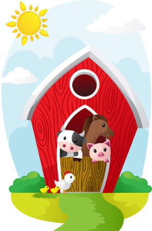 granero: Ilustraci�n de animales de granja en un granero