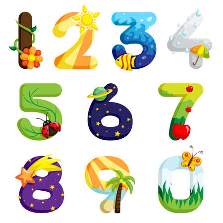 4 7: Illustration of a set of numbers in fun design