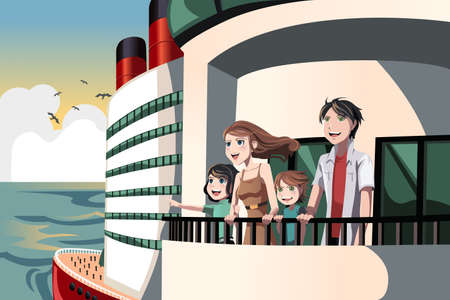 family outside: A illustration of a family on a cruise trip Illustration