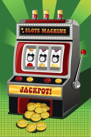 """sayings: Een illustratie van een gokautomaat met drie klokken als de jackpot, kan worden gebruikt voor """", Time is Money"""", concept"""