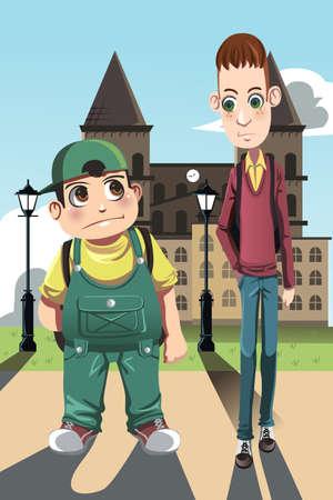kurz: Eine Abbildung einer kurzen, dicken Jungen und einem hohen magerer Junge, kann f�r Kontrast-Konzept verwendet werden