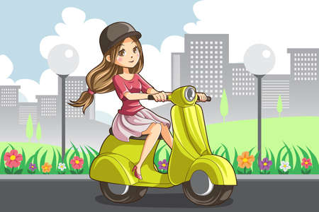A illustration of a girl riding a scooter Vector