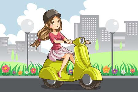 Een illustratie van een meisje op een scooter rijdt