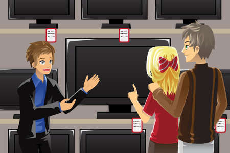 A illustration of a salesman selling television to customers Vector