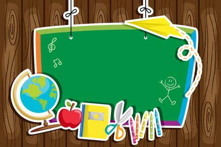 utiles escolares: Una ilustraci�n de fondo de nuevo a la escuela Vectores