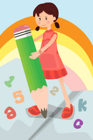 A illustration of a school girl holding a pencil writing letters and numbers