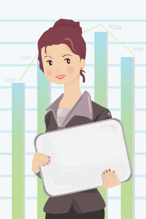 A illustration of a businesswoman holding a blank billboard Stock Vector - 15197350