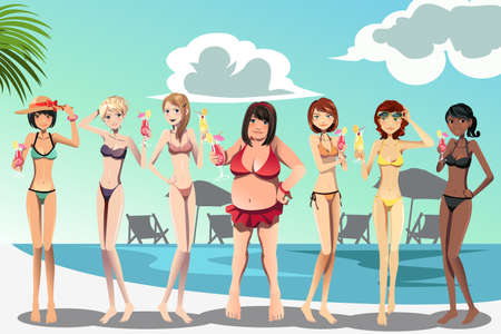 swimwear: A illustration of a large woman and skinny women in bikini Illustration