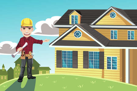 arquitecto caricatura: Una ilustración de un constructor de casas posando delante de una casa