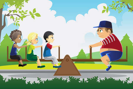 A illustration of a big kid playing see saw with three little kids, can be used for balance concept Vector
